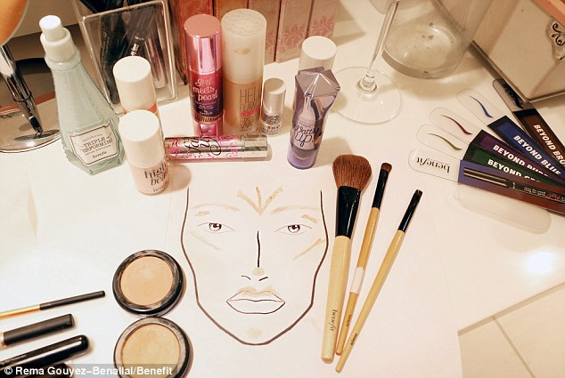 This face map shows where to put your highlighter: In the middle of the forehead, the cheekbones, the brow bone, the tip of the nose, the Cupid
